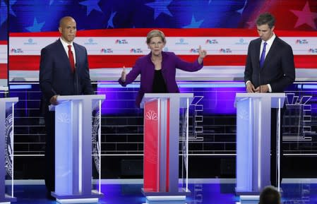Senator Warren speaks at the first U.S. 2020 presidential election Democratic candidates debate in Miami, Florida, U.S.,