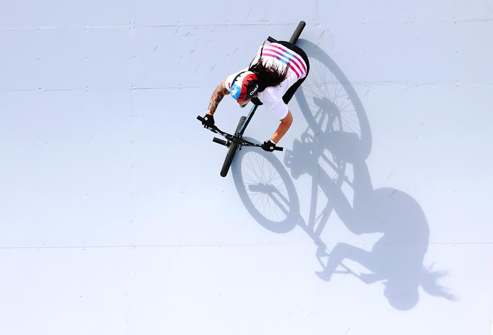 <p>Detailed view of Macarena Perez Grasset of Team Chile prepares for the race prior to the Women's BMX Freestyle seeding event on day eight of the Tokyo 2020 Olympic Games at Ariake Urban Sports Park on July 31, 2021 in Tokyo, Japan. (Photo by Laurence Griffiths/Getty Images)</p>