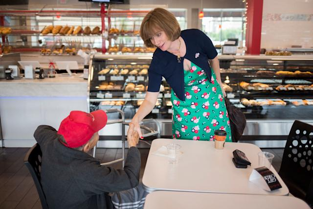 Democrat Laura Moser campaigns at a bakery in Houston on May 22.
