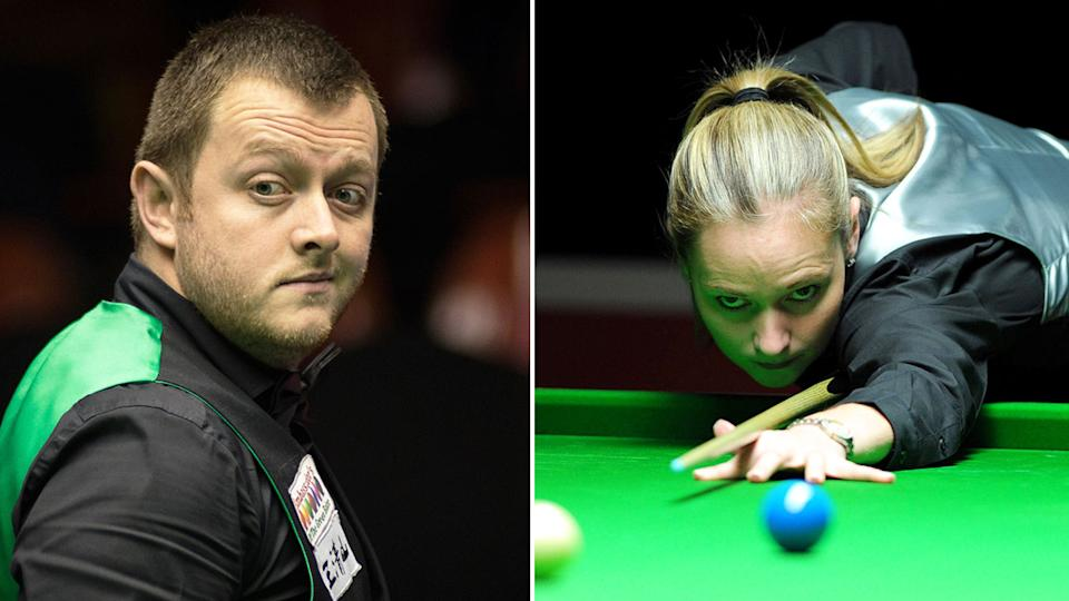 Seen here, Ex-couple Mark Allen and Reanne Evans playing snooker.