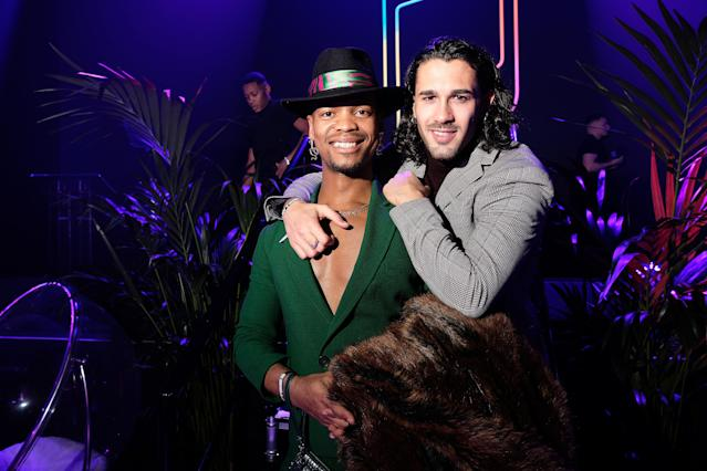 Johannes Radebe and Graziano di Prima attend the GAY TIMES Honours 500 at Magazine London on November 21, 2019 in London, England. (Photo by Mike Marsland/WireImage for GAY TIMES)