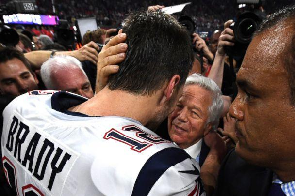 PHOTO: New England Patriots Quarterback Tom Brady celebrates with owner Robert Kraft after Super Bowl LIII between the New England Patriots and the Los Angeles Rams in Atlanta, Feb. 3, 2019. (Timothy A. Clary/AFP/Getty Images)
