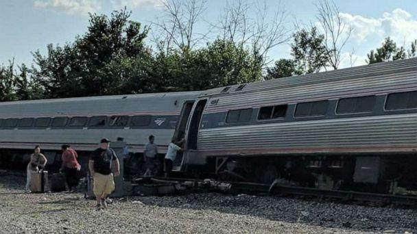 PHOTO: Five Amtrack cars derailed when a train hit a truck in Illinois on Sunday, July 28. (Brian Cudiamat via WLS)