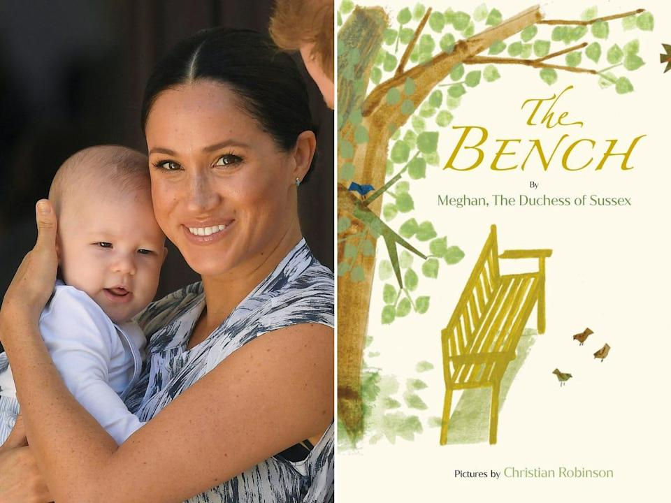 """Side-by-side images of Meghan Markle with Archie and the cover of """"The Bench."""""""