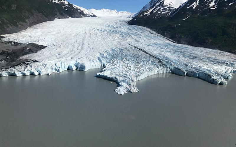 An aerial shot of Spencer Glacier, in the Chugach National Forest - Ascending Path, LLC