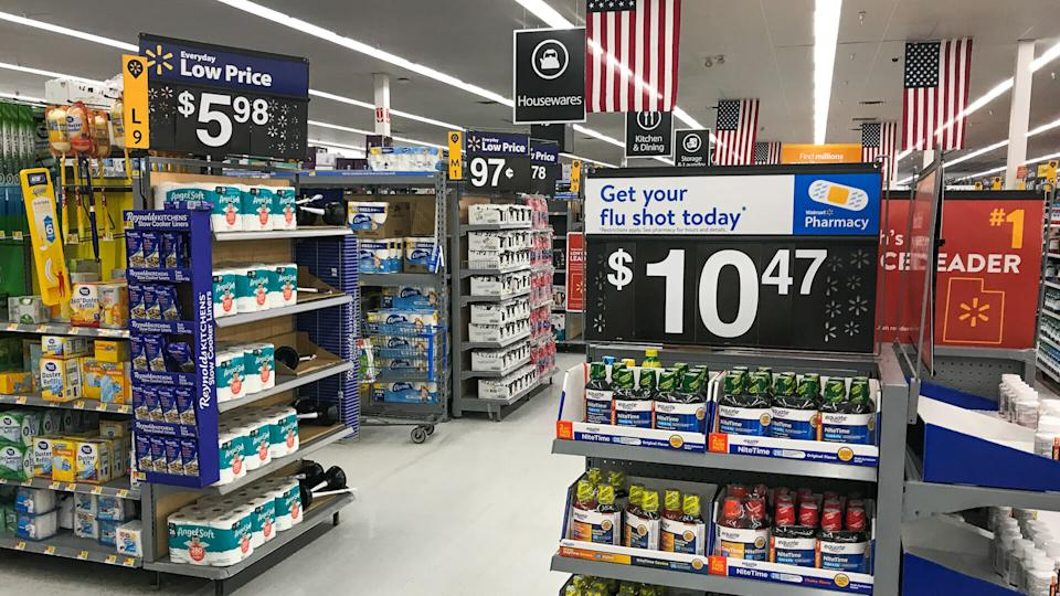 Walmart store with pricing