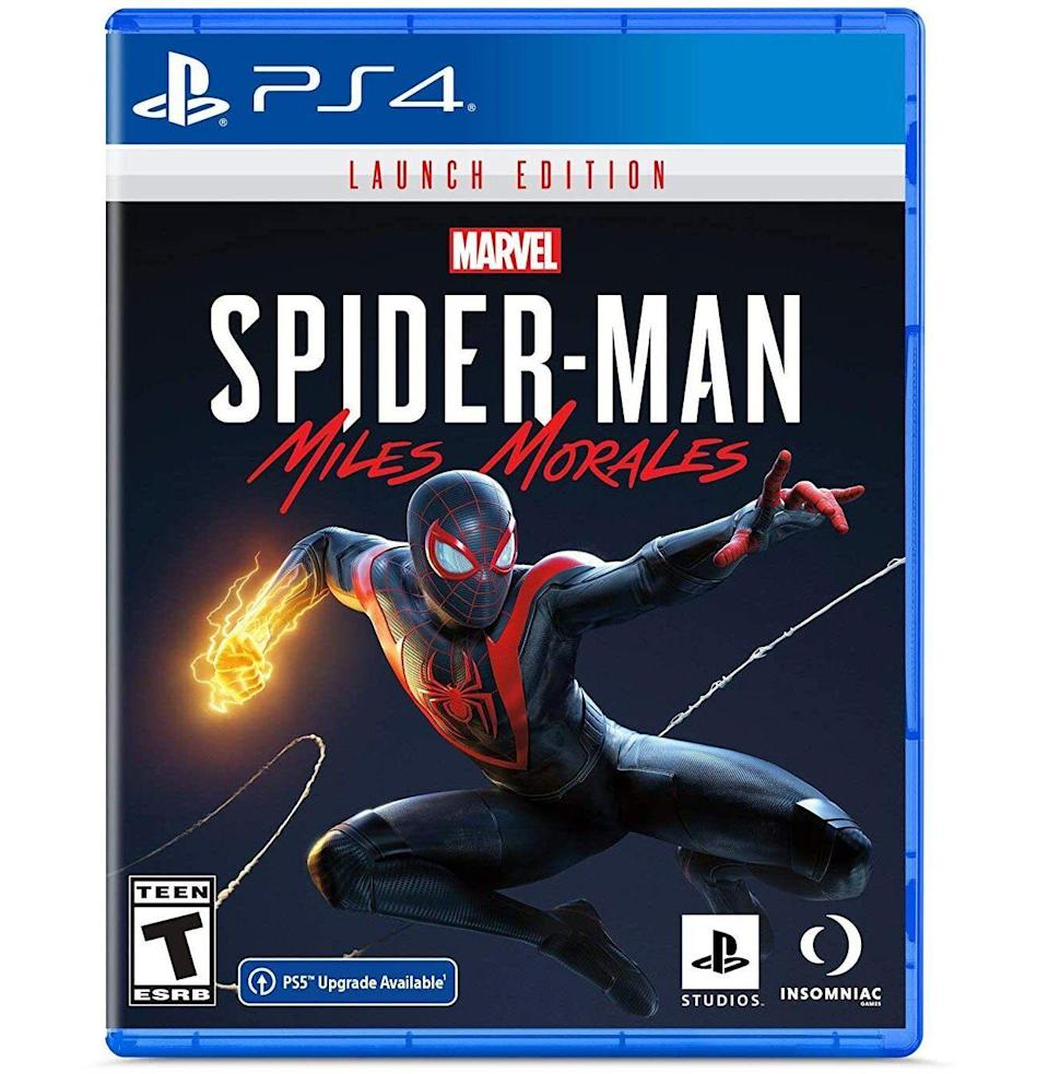 """<p><strong>PlayStation</strong></p><p>amazon.com</p><p><strong>$49.88</strong></p><p><a href=""""https://www.amazon.com/dp/B08JHVG9ZJ?tag=syn-yahoo-20&ascsubtag=%5Bartid%7C10054.g.23497791%5Bsrc%7Cyahoo-us"""" rel=""""nofollow noopener"""" target=""""_blank"""" data-ylk=""""slk:Buy"""" class=""""link rapid-noclick-resp"""">Buy</a></p><p>Swing through Harlem as newcomer Miles Morales in Marvel's <a href=""""https://www.esquire.com/lifestyle/a34591815/spider-man-miles-morales-game-review/"""" rel=""""nofollow noopener"""" target=""""_blank"""" data-ylk=""""slk:most diverse—and interesting—video game"""" class=""""link rapid-noclick-resp"""">most diverse—and interesting—video game</a> yet.</p>"""