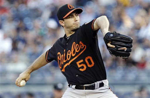 Baltimore Orioles' Miguel Gonzalez delivers a pitch during the first inning of a baseball game against the New York Yankees, Friday, July 5, 2013, in New York. (AP Photo/Frank Franklin II)