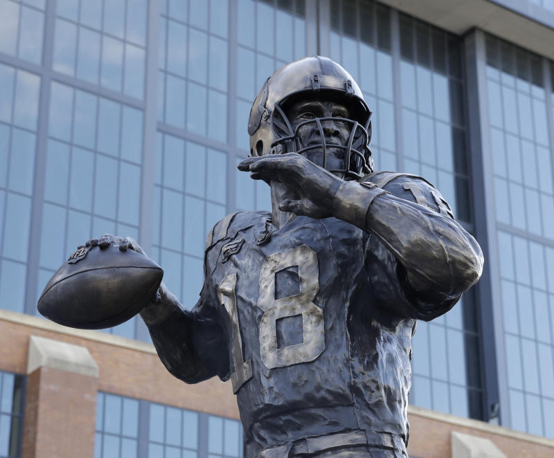 Peyton Manning had a statue unveiled outside Lucas Oil Stadium in October. (AP)
