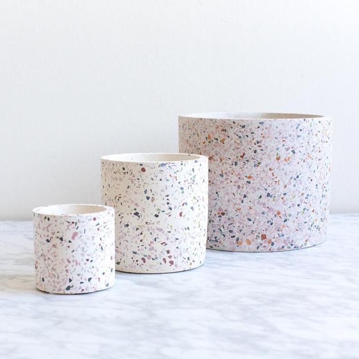 """Concrete, terrazzo, and a dreamy pastel palette come together for a winning combination. $40, Etsy. <a href=""""https://www.etsy.com/listing/744910321/concrete-terrazzo-white-planter-medium?ref=shop_home_active_1&frs=1&crt=1"""" rel=""""nofollow noopener"""" target=""""_blank"""" data-ylk=""""slk:Get it now!"""" class=""""link rapid-noclick-resp"""">Get it now!</a>"""