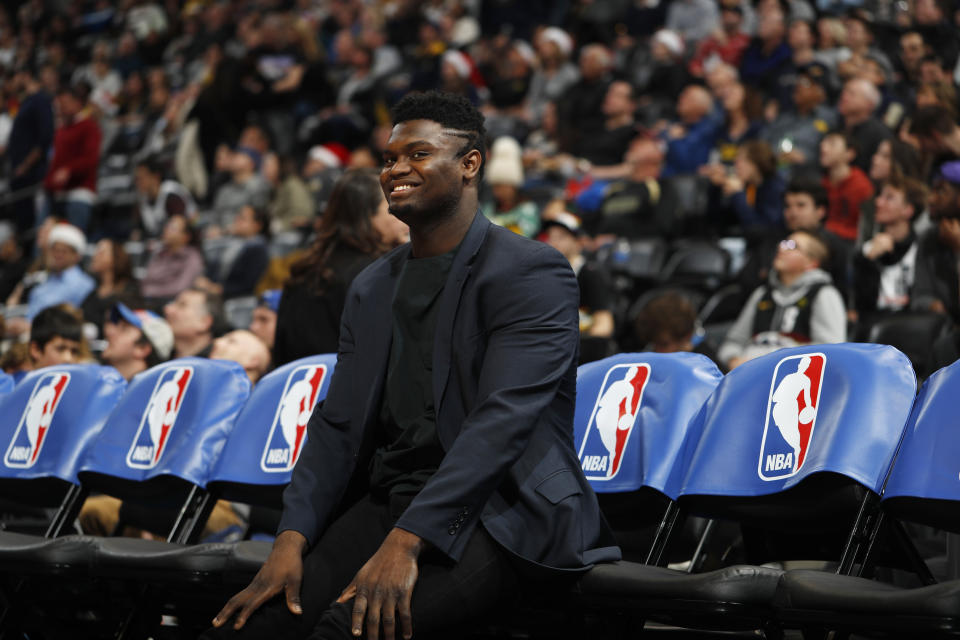 New Orleans Pelicans forward Zion Williamson (1) in the second half of an NBA basketball game Wednesday, Dec. 25, 2019, in Denver. The Pelicans won 112-100. (AP Photo/David Zalubowski)