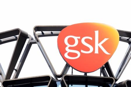 FILE PHOTO: The GSK logo is seen on top of GSK Asia House in Singapore