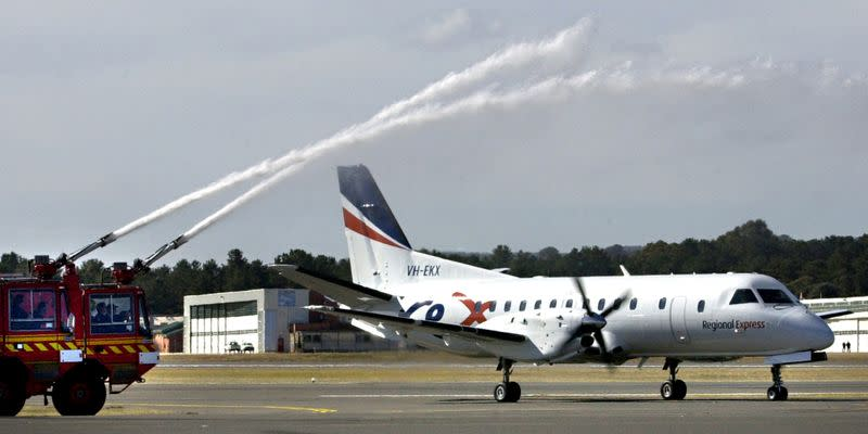 FILE PHOTO: REGIONAL EXPRESS AIRCRAFT TAXIS ON MAIDEN VOYAGE FROM CANBERRA.