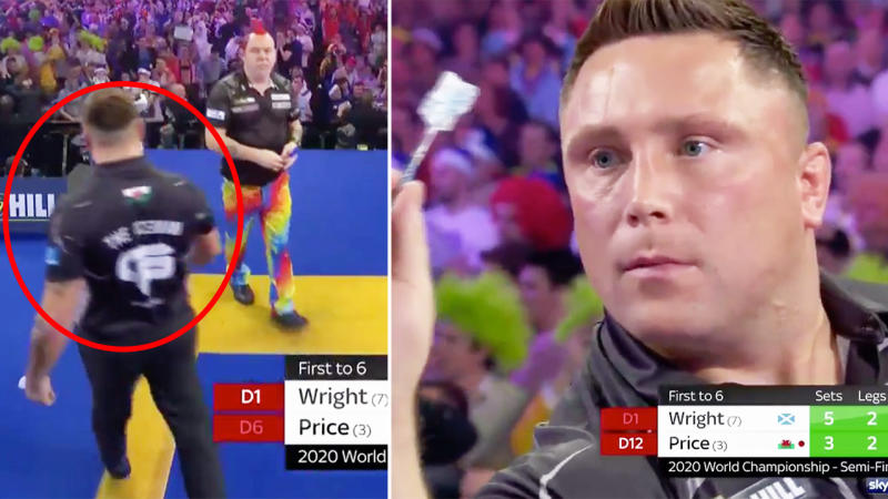 Gerwyn Price, pictured here, failed to shake Peter Wright's hand after their match.
