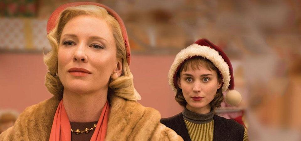 """<p>Technically, <em>Carol </em>is a Christmas romance. Cate Blanchett plays a New Jersey housewife rattling around in a big, cold house. Her life is filled up by a chance meeting with Therese (Rooney Mara) in a department store one Christmas. Their connection is undeniable—but can they find a place in the world that will accept them? Todd Haynes directed this adaptation of <a href=""""https://www.amazon.com/Price-Salt-Patricia-Highsmith-ebook/dp/B01CMLVMZG?tag=syn-yahoo-20&ascsubtag=%5Bartid%7C10072.g.33383086%5Bsrc%7Cyahoo-us"""" rel=""""nofollow noopener"""" target=""""_blank"""" data-ylk=""""slk:Patricia Highsmith's The Price of Salt"""" class=""""link rapid-noclick-resp"""">Patricia Highsmith's <em>The Price of Salt</em></a>. </p><p><a class=""""link rapid-noclick-resp"""" href=""""https://www.amazon.com/Carol-Cate-Blanchett/dp/B01A9RC4RK?tag=syn-yahoo-20&ascsubtag=%5Bartid%7C10072.g.33383086%5Bsrc%7Cyahoo-us"""" rel=""""nofollow noopener"""" target=""""_blank"""" data-ylk=""""slk:Watch Now"""">Watch Now</a></p>"""