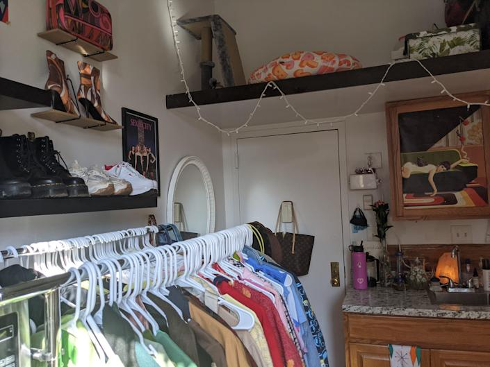 72 square foot apartment shelves with shoes