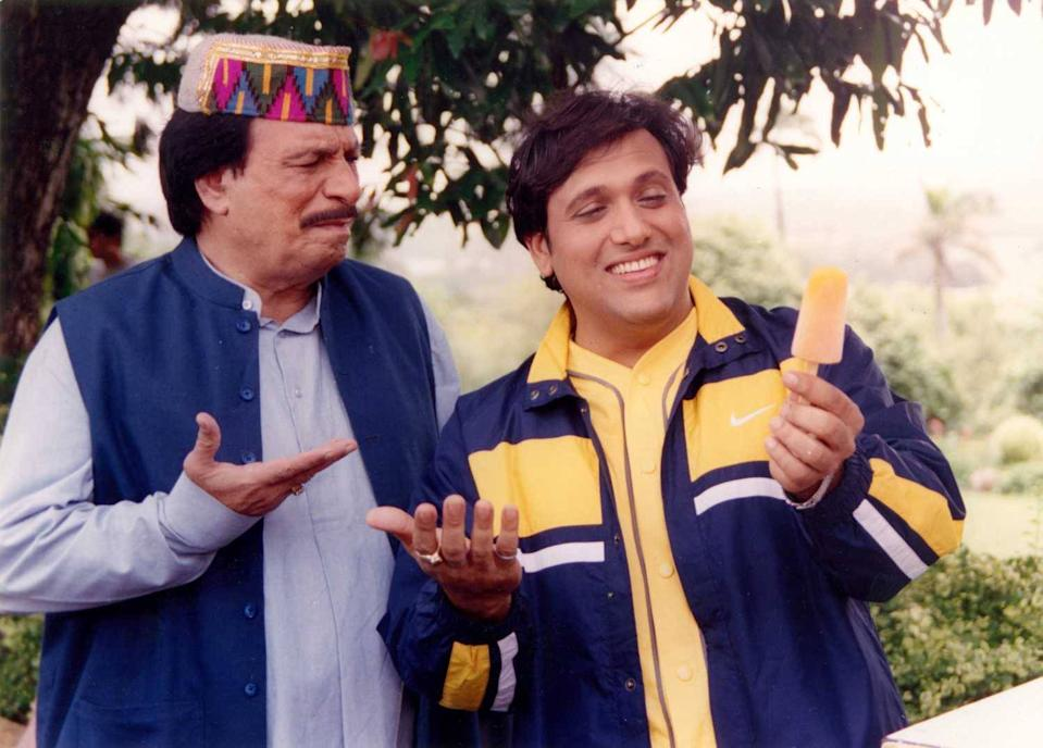 Kader Khan and Govinda in Dulhe Raja