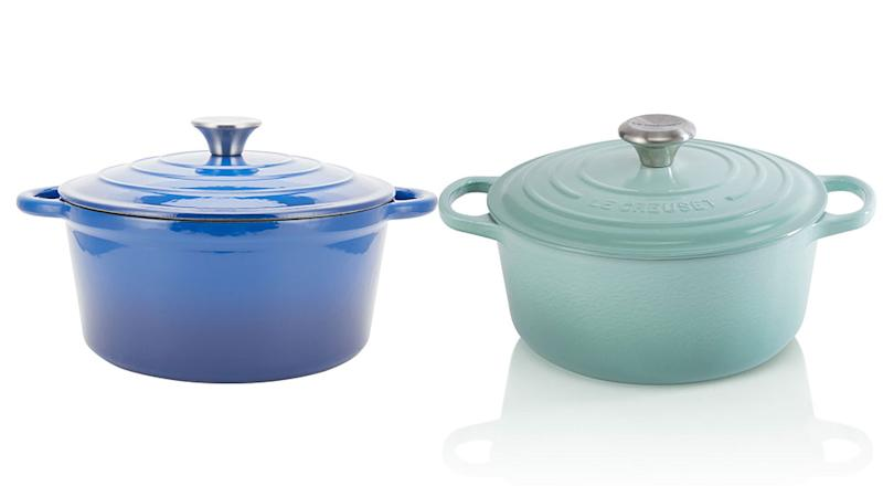 A comparison of a Kmart casserole pot and one from Le Creuset