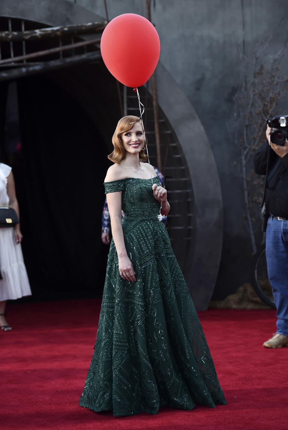 "FILE - Jessica Chastain arrives at the Los Angeles premiere of ""It: Chapter 2,"" on Aug. 26, 2019. Chastain turns 44 on March 24. (Photo by Jordan Strauss/Invision/AP, File)"