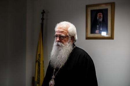 Greek Orthodox Metropolitan bishop of Demetrias and Almyros, Ignatius pauses during an interview with Reuters at the headquarters of the Holy Synod of the Greek Orthodox Church in Athens, Greece, February 7, 2017. REUTERS/Alkis Konstantinidis