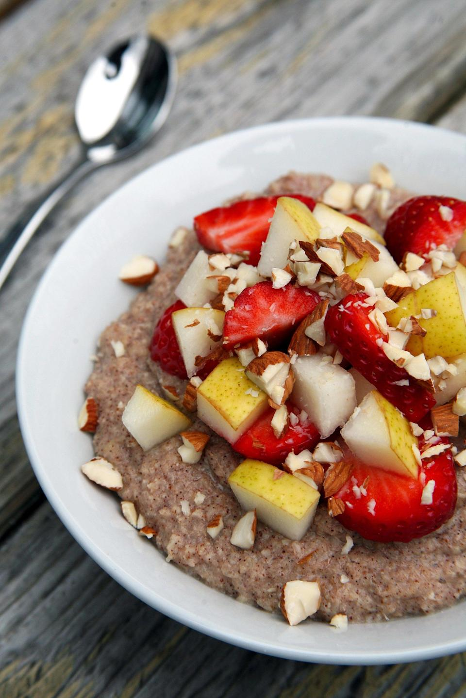 """<p>If you love oatmeal, you've got to try this version made with cauliflower. Sounds weird, but once cooked and flavored, it tastes remarkably like oatmeal - honest! This bowl is topped with fresh strawberries, pears, and chopped raw almonds. </p> <p><strong>Get the recipe:</strong> <a href=""""https://www.popsugar.com/fitness/Cauliflower-Porridge-40585823"""" class=""""link rapid-noclick-resp"""" rel=""""nofollow noopener"""" target=""""_blank"""" data-ylk=""""slk:cauliflower porridge"""">cauliflower porridge</a></p>"""