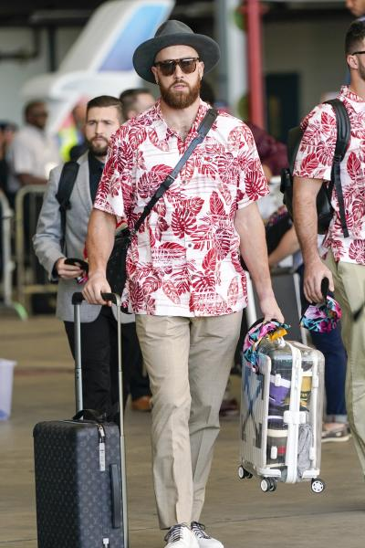 Kansas City Chiefs' Travis Kelce arrives for the NFL Super Bowl 54 football game Sunday, Jan. 26, 2020, at the Miami International Airport in Miami. (AP Photo/David J. Phillip)