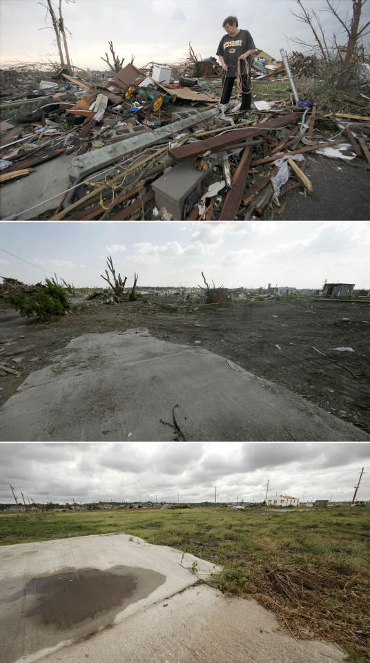 This three-photo combo shows a scene taken on May 23, 2011, top, July 21, 2011, center, and May 7, 2012, bottom, shows progress made in Joplin, Mo. in the year after an EF-5 tornado destroyed a large swath of the city and killed 161 people. In the top photo, Anita Stokes salvages items from her home which today stands cleared of much of the tornado debris. (AP Photo/Charlie Riedel)
