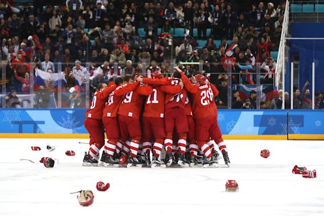 <p>Gold medal winners Olympic Athletes from Russia celebrate after defeating Germany 4-3 in overtime during the Men's Gold Medal Game on day sixteen of the PyeongChang 2018 Winter Olympic Games at Gangneung Hockey Centre on February 25, 2018 in Gangneung, South Korea. (Photo by Jamie Squire/Getty Images) </p>