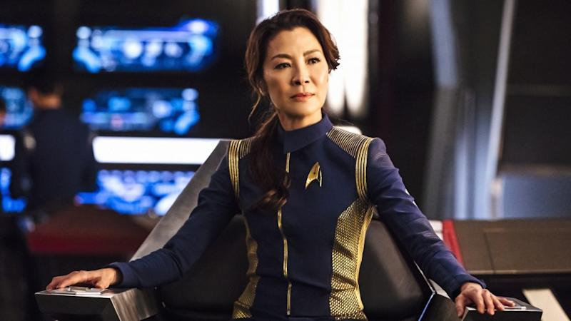 """Star Trek: Discovery -- CBS TV Series, THURSDAY, SEPT. 24 (10:00-11:00 PM, ET/PT) """"The Vulcan Hello"""" (Original CBS All Access Airdate 9/24/17.) In the series premiere, while patrolling Federation space, the U.S.S. Shenzhou encounters an object of unknown origin, putting First Officer Michael Burnham (Sonequa Martin-Green) to her greatest test yet. """"The Vulcan Hello"""" - Episode 101 - Pictured: Michelle Yeoh as Captain Philippa Georgiou. Photo Cr: Jan Thijs/CBS © 2017 CBS Interactive. All Rights Reserved. Michelle Yeoh in """"Star Trek: Discovery"""" on CBS."""