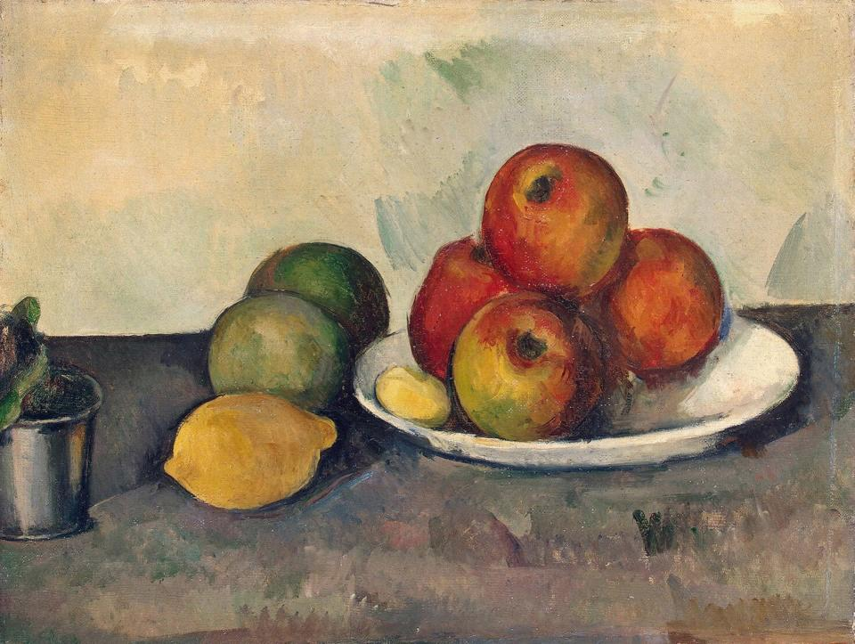 """<span class=""""caption"""">Paul Cézanne, Nature morte aux pommes, 1890.</span> <span class=""""attribution""""><a class=""""link rapid-noclick-resp"""" href=""""https://fr.wikipedia.org/wiki/Nature_morte_aux_pommes#/media/Fichier:Paul_C%C3%A9zanne,_Still_Life_With_Apples,_c._1890.jpg"""" rel=""""nofollow noopener"""" target=""""_blank"""" data-ylk=""""slk:Wikimedia"""">Wikimedia</a>, <a class=""""link rapid-noclick-resp"""" href=""""http://creativecommons.org/licenses/by/4.0/"""" rel=""""nofollow noopener"""" target=""""_blank"""" data-ylk=""""slk:CC BY"""">CC BY</a></span>"""