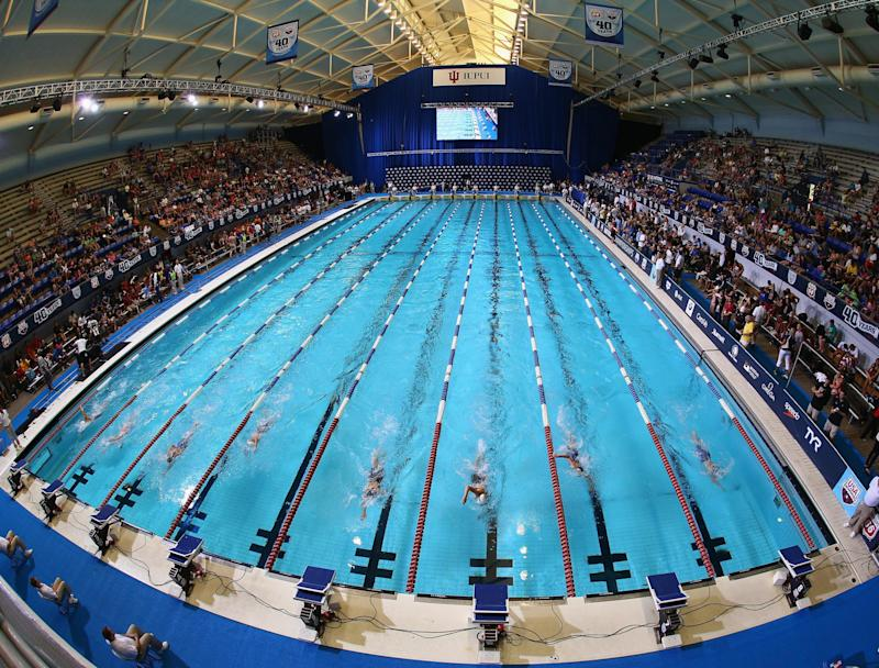 A race at the Indiana University Natatorium: Getty Images