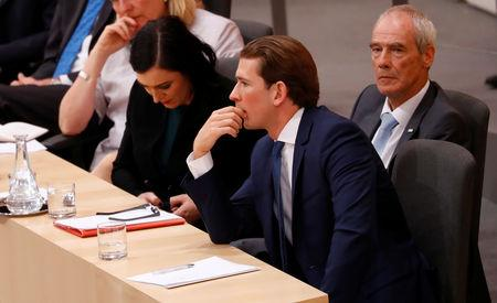 Austrian Chancellor Sebastian Kurz, Interior Minister Eckart Ratz and Agriculture Minister Elisabeth Koestinger attend a session of the Parliament in Vienna, Austria May 27, 2019. REUTERS/Leonhard Foeger