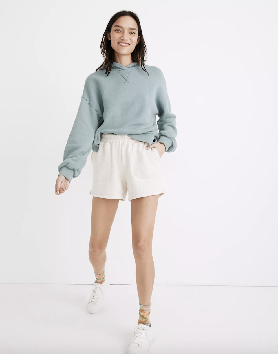 "White bottoms always look *fresh*, and <a href=""https://www.glamour.com/story/madewell-launches-athleisure-collection?mbid=synd_yahoo_rss"" rel=""nofollow noopener"" target=""_blank"" data-ylk=""slk:Madewell's"" class=""link rapid-noclick-resp"">Madewell's</a> design has a cloud-nine soft feel with roomy pockets for holding essentials. $40, Madewell. <a href=""https://www.madewell.com/mwl-airyterry-stitched-pocket-sweatshorts-99106148640.html"" rel=""nofollow noopener"" target=""_blank"" data-ylk=""slk:Get it now!"" class=""link rapid-noclick-resp"">Get it now!</a>"