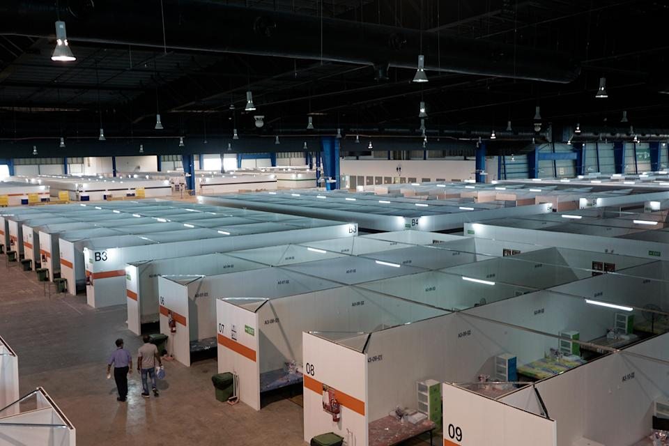 Currently, the 33 sq m indoor portion of the Changi Exhibition Centre, will be used to house some 2,700 COVID-19 patients with mild symptoms. (PHOTO: Dhany Osman / Yahoo News Singapore)