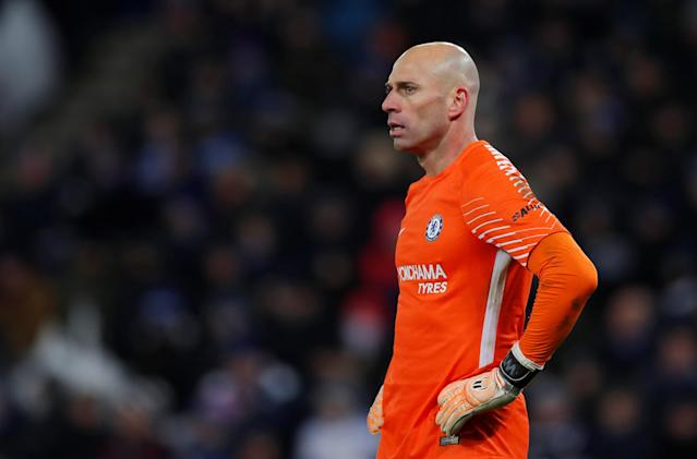Soccer Football - FA Cup Quarter Final - Leicester City vs Chelsea - King Power Stadium, Leicester, Britain - March 18, 2018 Chelsea's Willy Caballero Action Images via Reuters/Andrew Couldridge