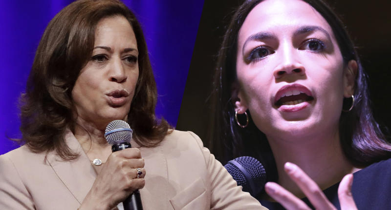 Kamala Harris, left, and Alexandria Ocasio-Cortez