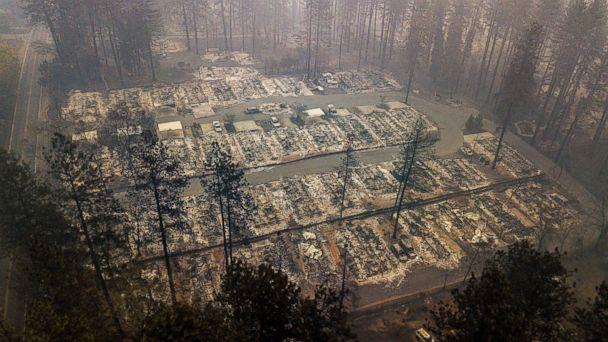 PHOTO: Residences leveled by the wildfire line a neighborhood in Paradise, Calif., Nov. 15, 2018. (Noah Berger / AP)