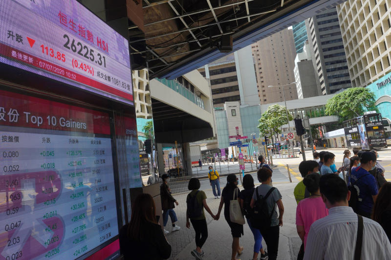 People wearing face masks walk in front of a bank's electronic board showing the Hong Kong share index at Hong Kong Stock Exchange Tuesday, July 7, 2020. Asian shares were mixed Tuesday, as some benchmarks were buoyed by an ongoing worldwide rally as investors bet on a dramatic economic turnaround amid ongoing challenges of the coronavirus outbreak. (AP Photo/Vincent Yu)