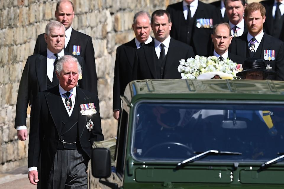Prince William, Prince Andrew, Prince Charles, Prince Edward, Peter Phillips, Prince Harry, Earl of Snowdon David Armstrong-Jones, Vice-Admiral Sir Timothy Laurence and Princess Anne follow Prince Philip's coffin. (Photo: Leon Neal via Getty Images)