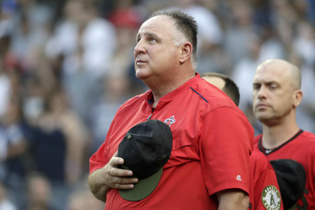 Los Angeles Angels manager Mike Scioscia stands for the national anthem prior to a baseball game against the New York Yankees, Saturday, May 26, 2018, in New York. (AP)