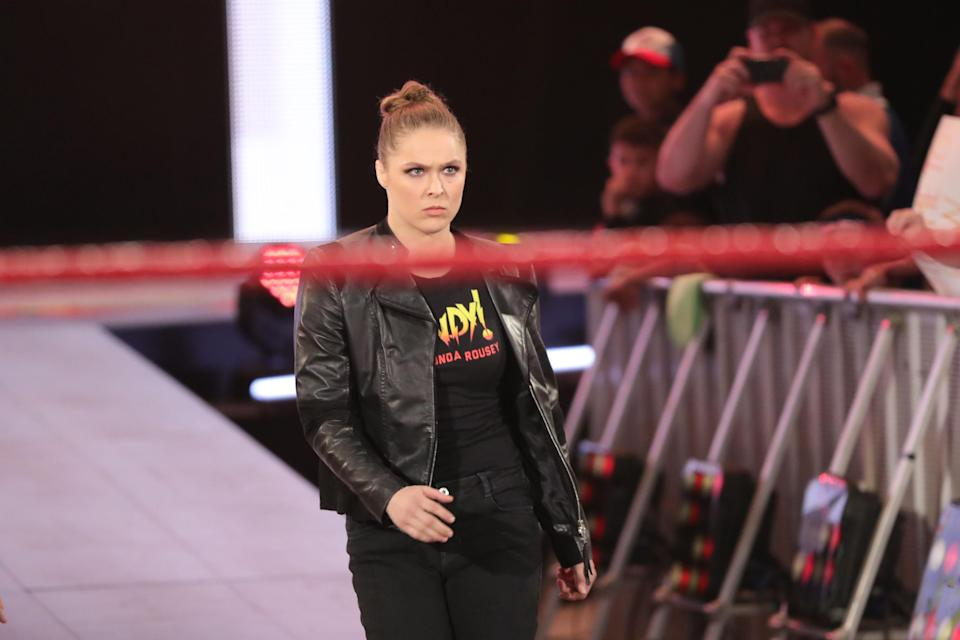 Ronda Rousey was forced into hiding for two days prior to her WWE debut in January. (Courtesy WWE)