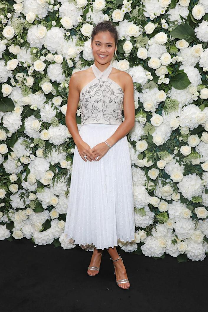 """<div class=""""inline-image__title"""">1235386747</div> <div class=""""inline-image__caption""""><p>Raducanu attends an intimate dinner and party hosted by British <em>Vogue</em> and Tiffany & Co. during London Fashion Week, Sept. 20, 2021, London, England.</p></div> <div class=""""inline-image__credit"""">David M. Benett/Getty</div>"""
