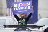 "Supporters attend a ""Souls to the Polls"" drive-in rally for Democratic presidential candidate former Vice President Joe Biden, at Sharon Baptist Church, Sunday, Nov. 1, 2020 in Philadelphia. (AP Photo/Andrew Harnik)"