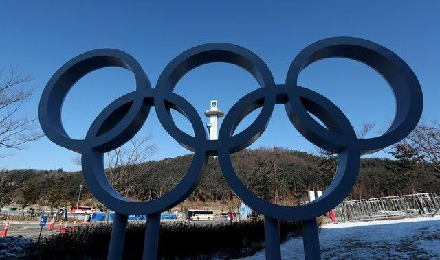 A photo of the Olympic rings at the 2018 Games in Pyeongchang