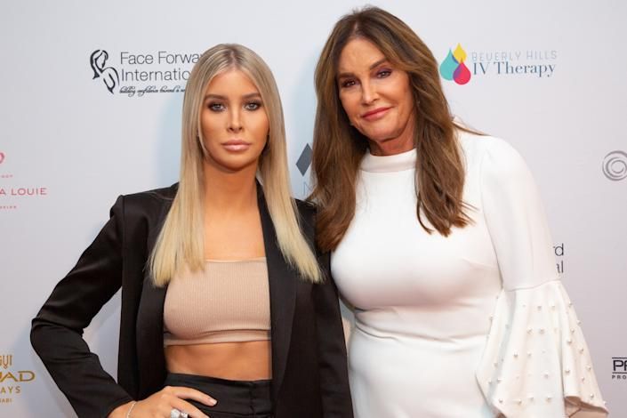 "Sophia Hutchins (L) and Caitlyn Jenner arrive for the Face Forward International 10th Annual Gala ""Highlands To The Hills"" on September 14, 2019 in Los Angeles, California. (Photo by Gabriel Olsen/Getty Images)"