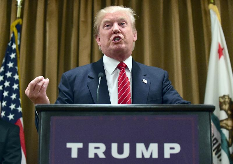 US presidential hopeful Donald Trump addresses the press at the Beverly Wilshire Hotel in Beverly Hills, California, July 10, 2015 (AFP Photo/Frederic J. Brown)