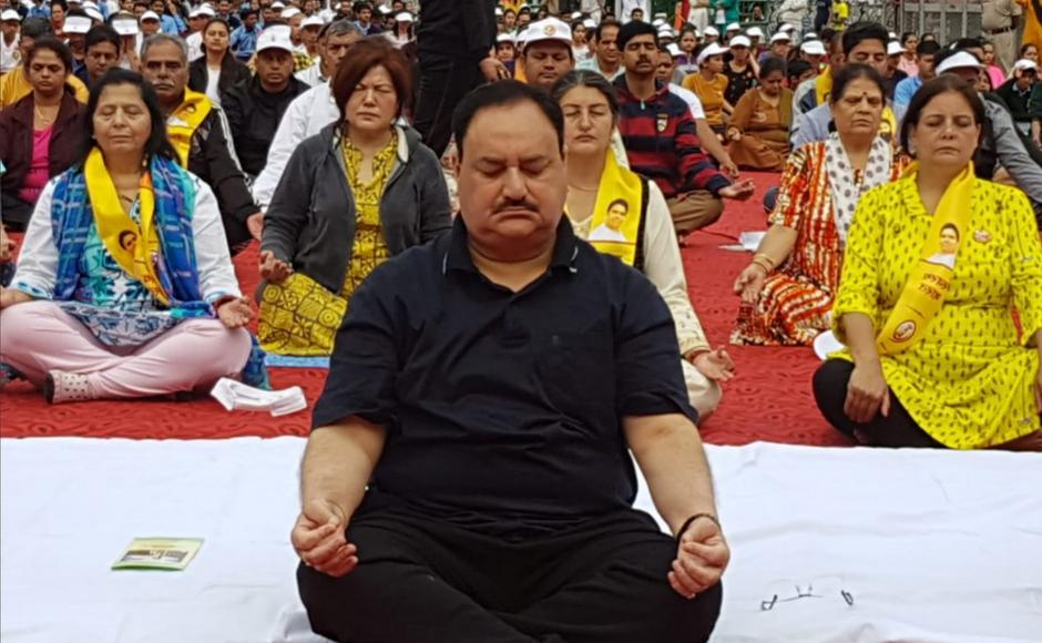 <p>Prime Minister Narendra Modi, Vice-President Venkaiah Naidu and other BJP leaders gathered to perform yoga across the country to spread awareness about the positive attributes of yoga </p>