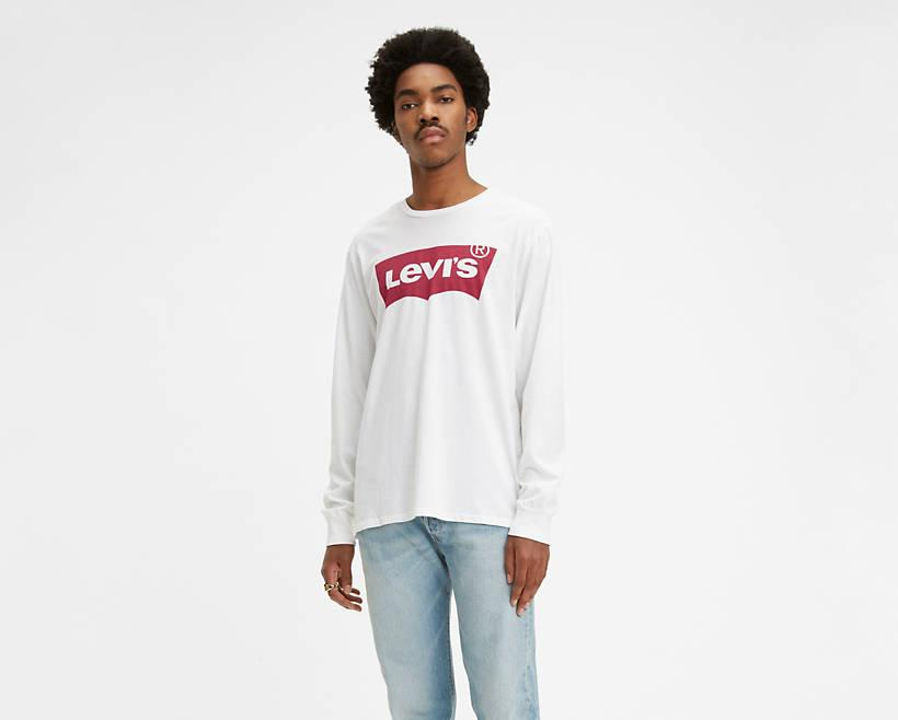 """<p><strong>Levi's</strong></p><p>levi.com</p><p><strong>$9.97</strong></p><p><a href=""""https://go.redirectingat.com?id=74968X1596630&url=https%3A%2F%2Fwww.levi.com%2FUS%2Fen_US%2Fapparel%2Fclothing%2Ftops%2Flevis-long-sleeve-logo-tee-shirt%2Fp%2F360150010&sref=https%3A%2F%2Fwww.esquire.com%2Fstyle%2Fmens-fashion%2Fg30858281%2Flevis-warehouse-sale-best-deals%2F"""" target=""""_blank"""">Buy</a></p><p>Or, go ahead and grab the most iconic version of the Levi's logo, a reference to the brand's arcuate pocket stitching.</p>"""