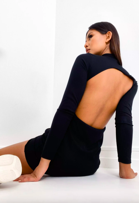 """<br><br><strong>Missguided</strong> black rib open back high neck mini dress, $, available at <a href=""""https://go.skimresources.com/?id=30283X879131&url=https%3A%2F%2Fwww.missguidedus.com%2Fblack-rib-open-back-high-neck-mini-dress-10225916"""" rel=""""nofollow noopener"""" target=""""_blank"""" data-ylk=""""slk:Missguided"""" class=""""link rapid-noclick-resp"""">Missguided</a>"""