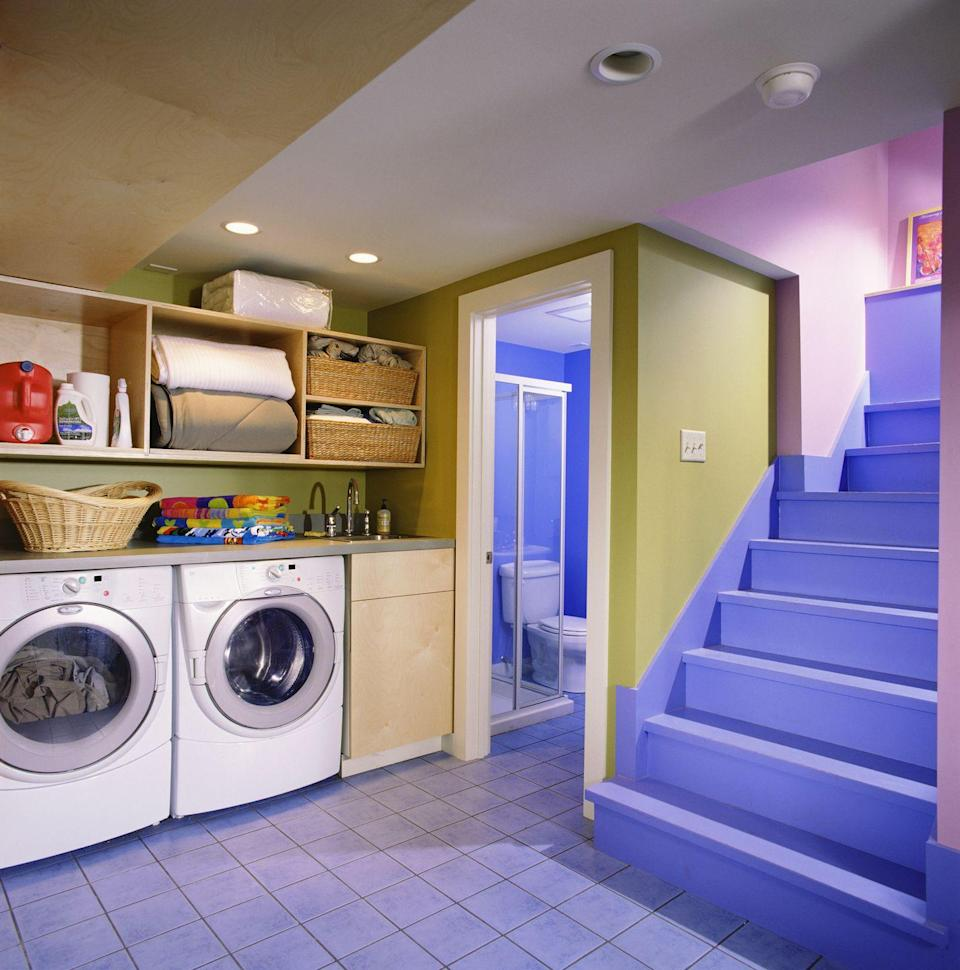 <p>While many basements house washers and dryers, if you create a finished room for them, perhaps laundry won't feel like such a chore!</p>